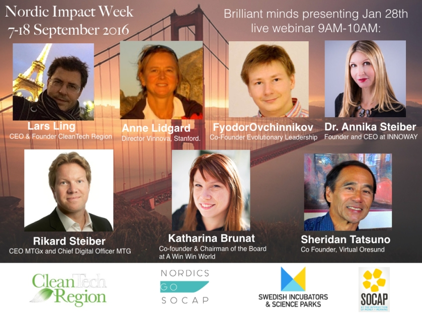 Brilliant minds -  Nordic Impact Week Silicon Valley  28th Jan 2016